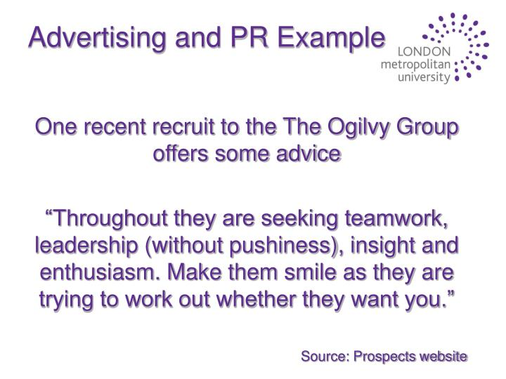 Advertising and PR Example