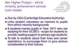 aim higher project ethnic minority achievement service role model