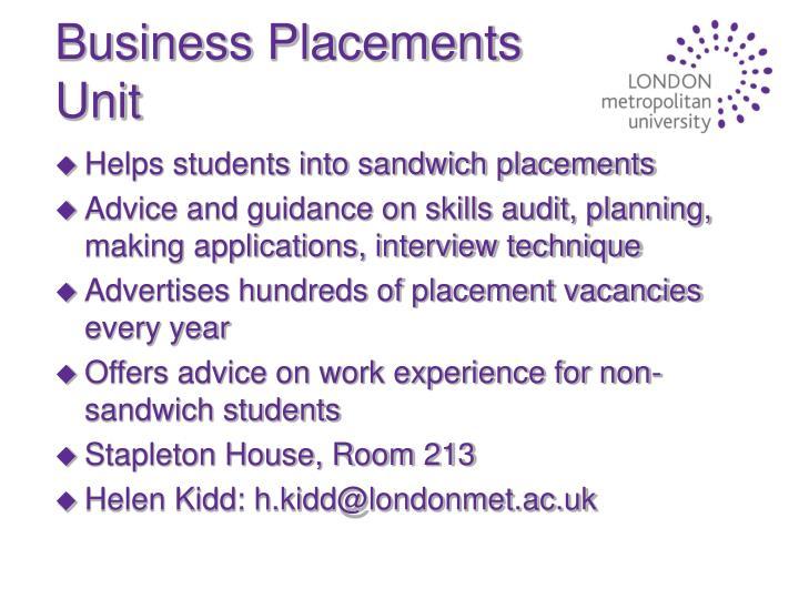 Business Placements Unit