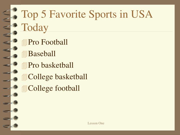 Top 5 Favorite Sports in USA Today