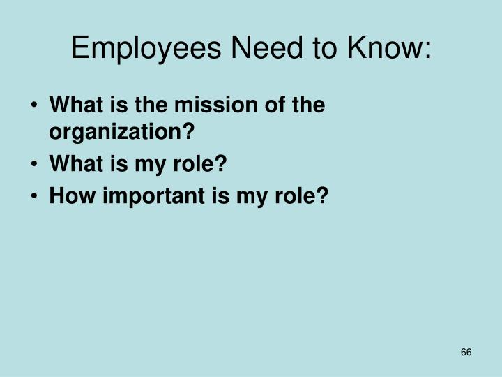 Employees Need to Know: