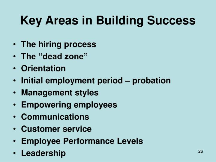 Key Areas in Building Success