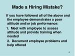 made a hiring mistake