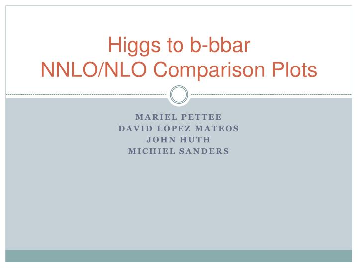 Higgs to b bbar nnlo nlo comparison plots