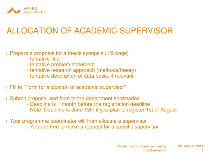 Allocation of academic supervisor