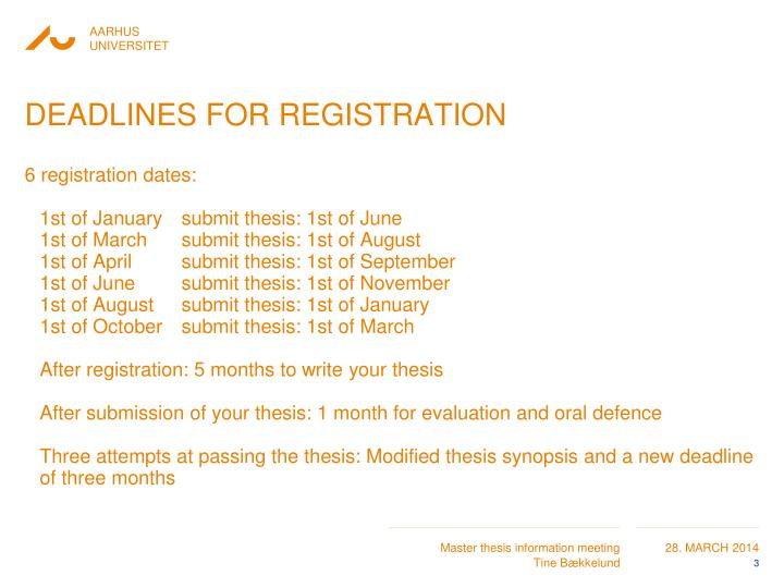 Deadlines for registration