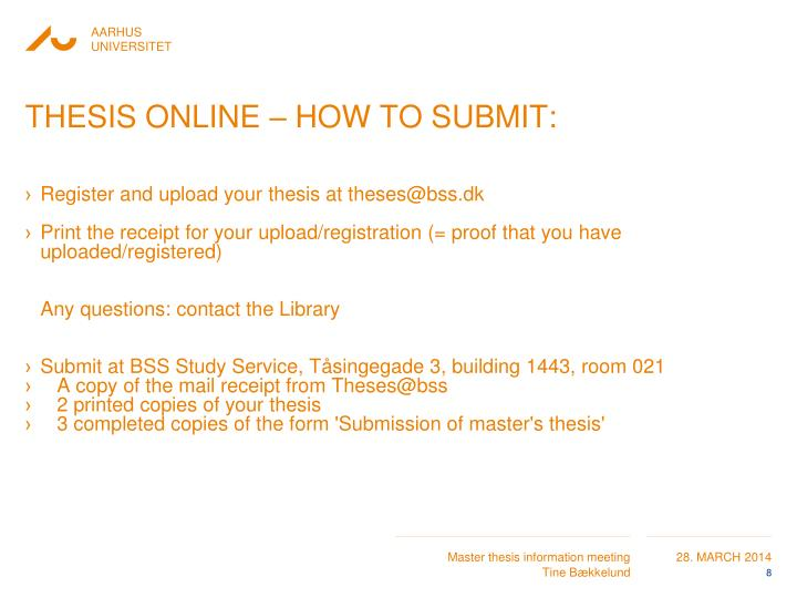 THESIS ONLINE – HOW TO SUBMIT: