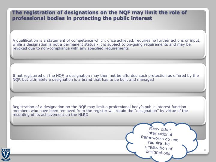 The registration of designations on the NQF may limit the role of professional bodies in protecting the public interest