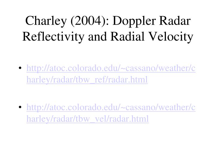 Charley (2004): Doppler Radar Reflectivity and Radial Velocity