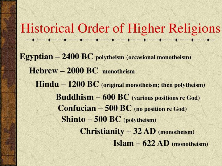 Historical Order of Higher Religions