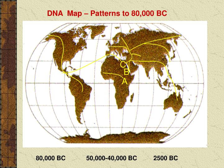 DNA  Map – Patterns to 80,000 BC