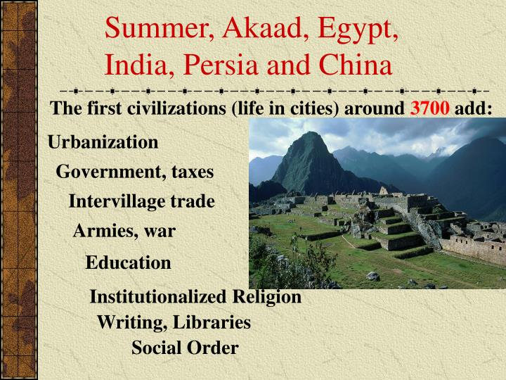 Summer, Akaad, Egypt, India, Persia and China