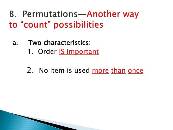 B.  Permutations—