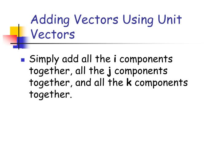 Adding Vectors Using Unit Vectors