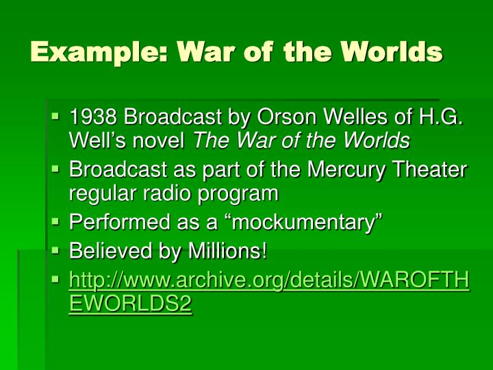 Example: War of the Worlds