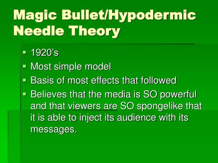 Magic Bullet/Hypodermic Needle Theory