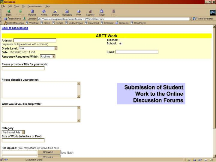 Submission of Student Work to the Online Discussion Forums