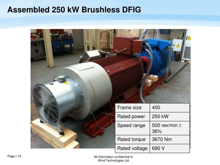 Assembled 250 kW Brushless DFIG