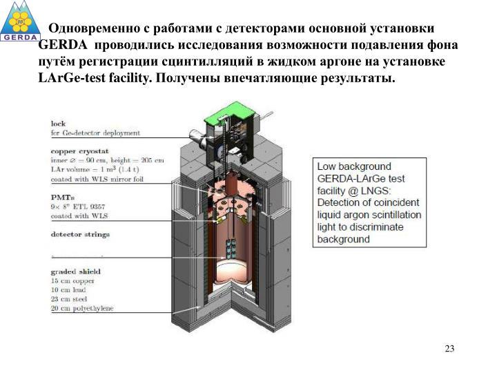 Одновременно с работами с детекторами основной установки