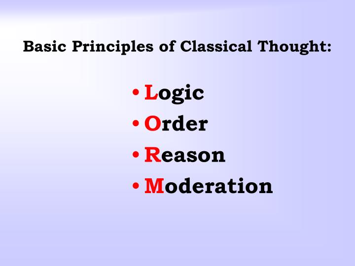 Basic Principles of Classical Thought: