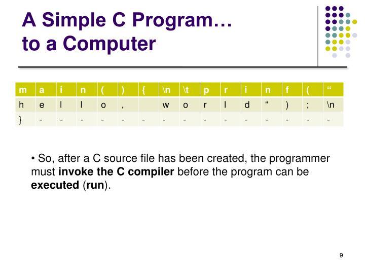 A Simple C Program…