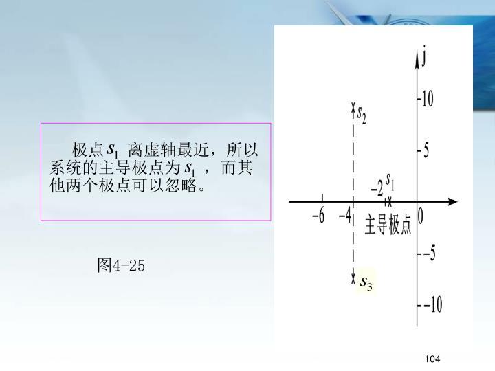 极点     离虚轴最近,所以系统的主导极点为     ,而其他两个极点可以忽略。