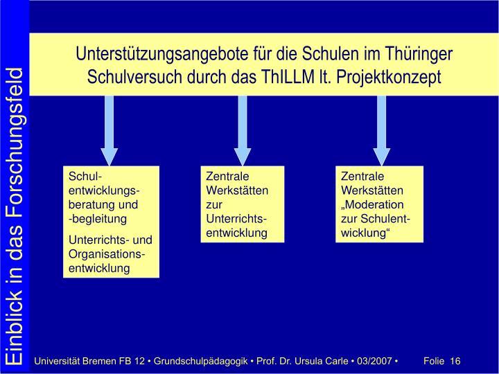 Unterstützungsangebote für die Schulen im Thüringer Schulversuch durch das ThILLM lt. Projektkonzept