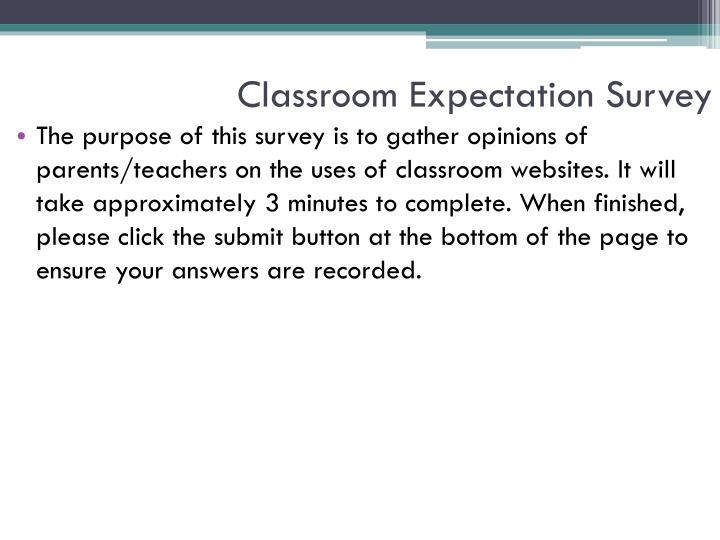 Classroom Expectation Survey