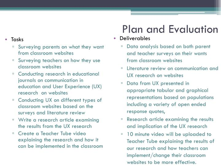 Plan and Evaluation