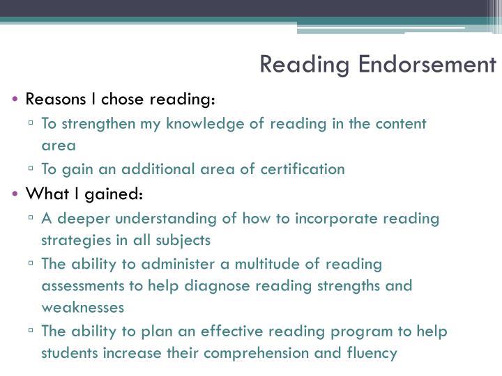 Reading Endorsement