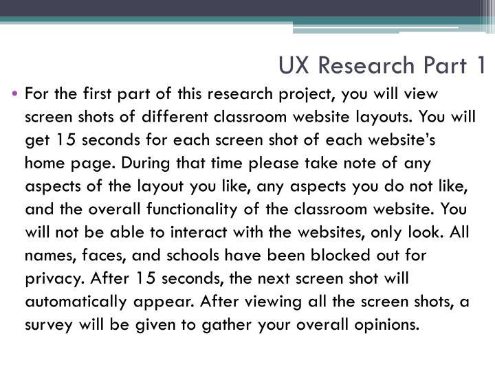 UX Research Part 1