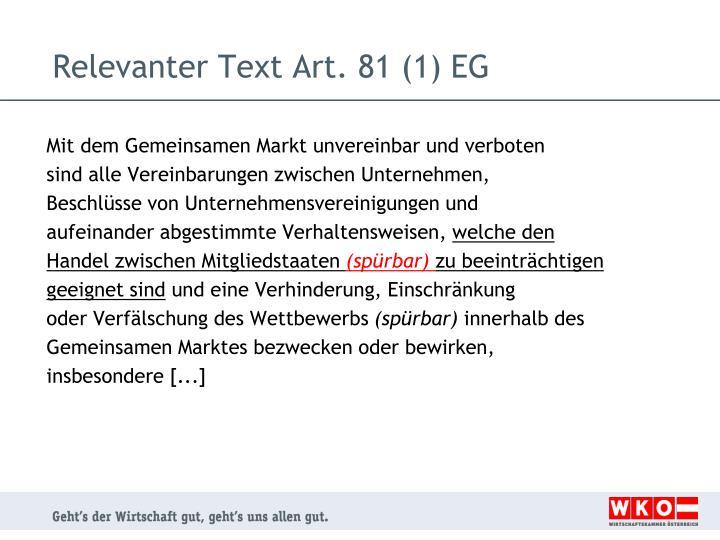 Relevanter Text Art. 81 (1) EG