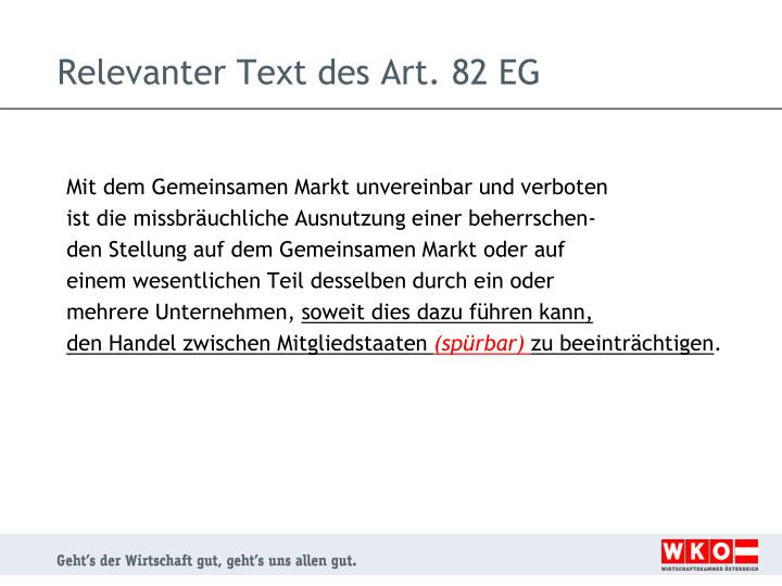 Relevanter Text des Art. 82 EG