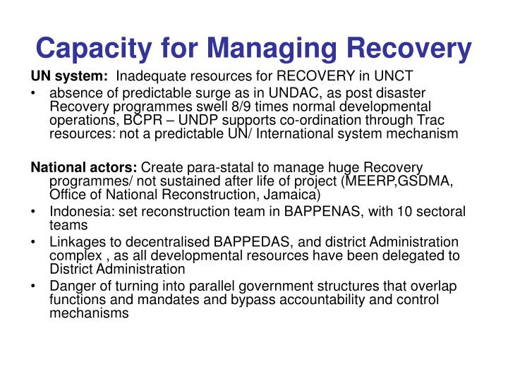 Capacity for Managing Recovery