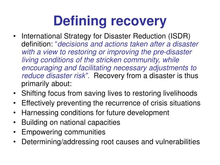 Defining recovery