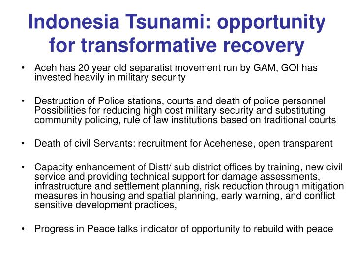 Indonesia Tsunami: opportunity  for transformative recovery