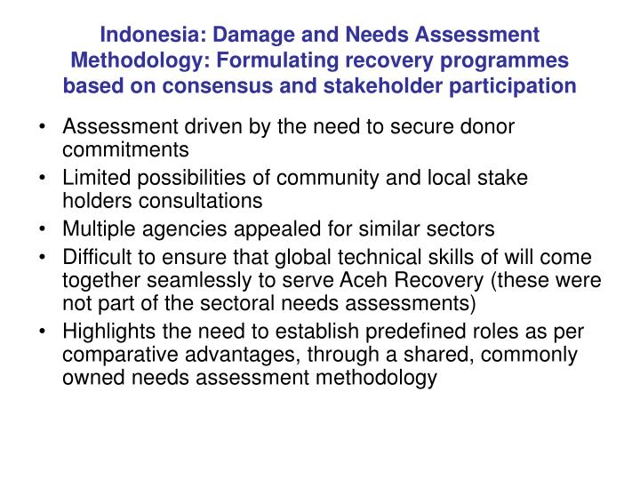 Indonesia: Damage and Needs Assessment Methodology