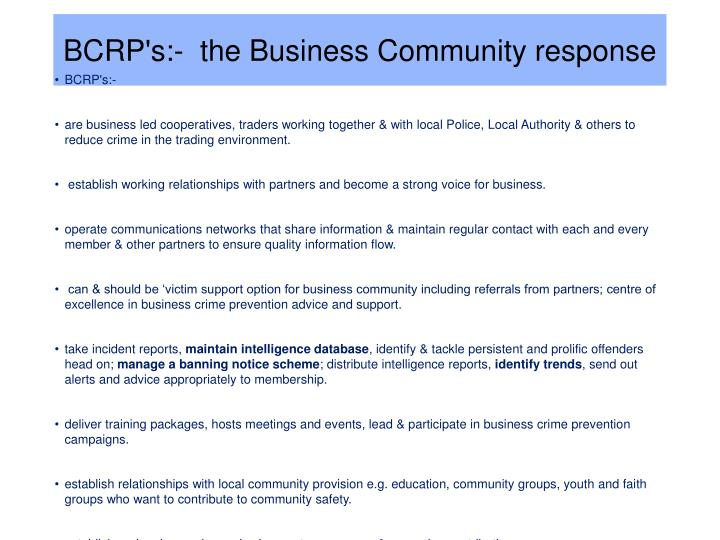 BCRP's:-  the Business Community response