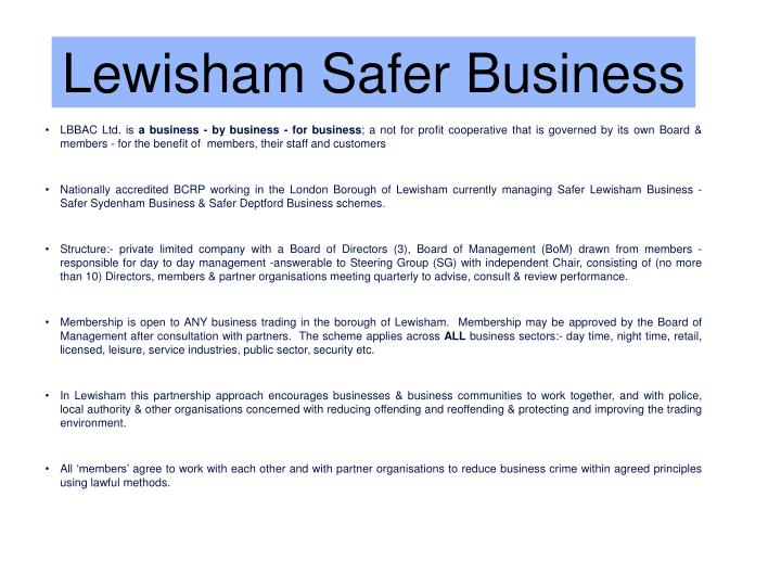 Lewisham Safer Business