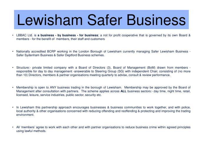 Lewisham Safer Business