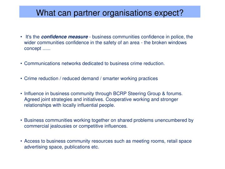 What can partner organisations expect?