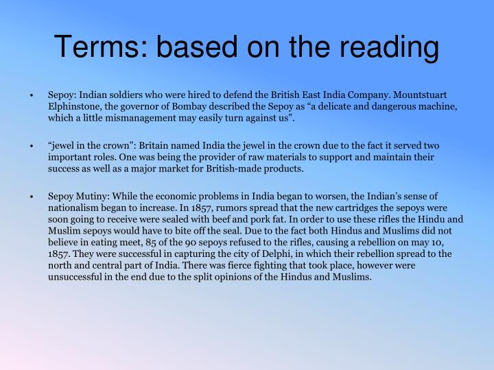 Terms based on the reading