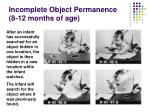 incomplete object permanence 8 12 months of age