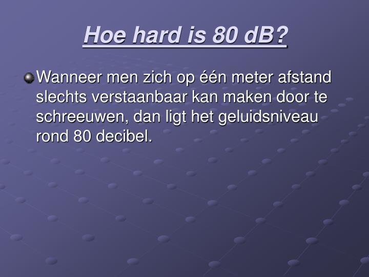 Hoe hard is 80 dB?