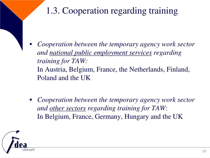 1.3. Cooperation regarding training