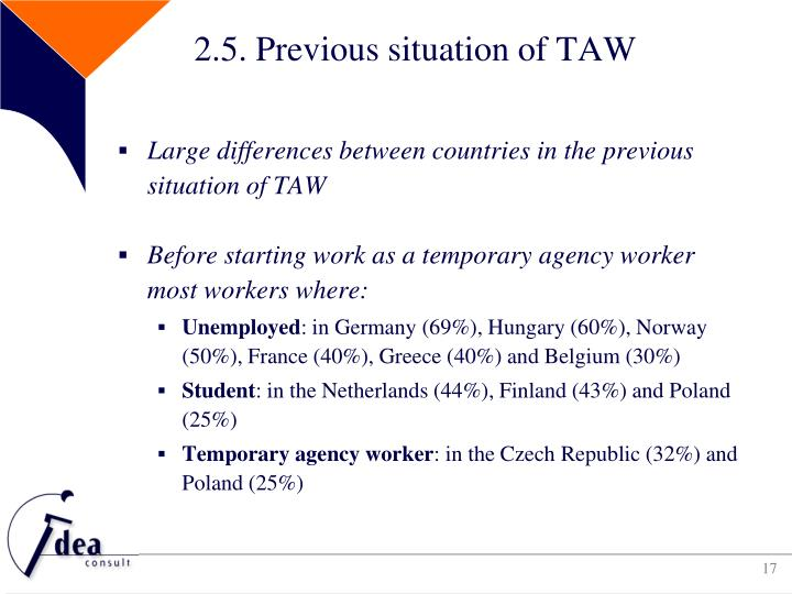2.5. Previous situation of TAW