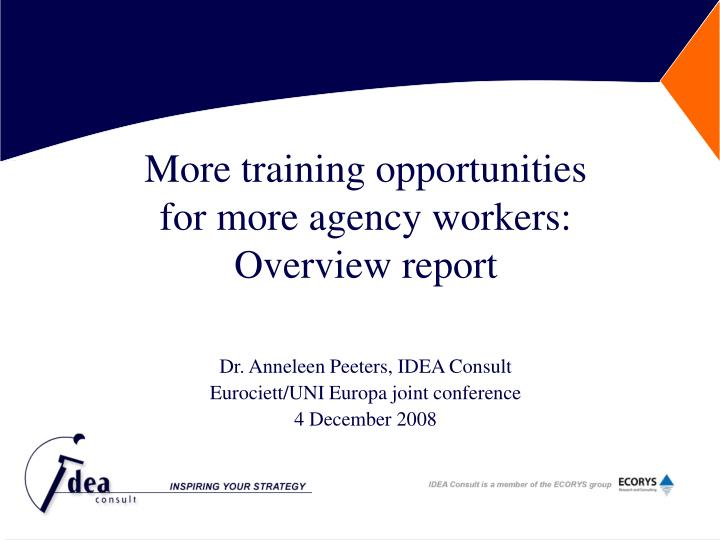 more training opportunities for more agency workers overview report
