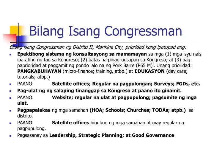 Bilang Isang Congressman