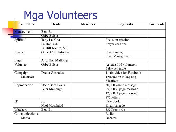 Mga Volunteers