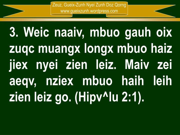 3. Weic naaiv, mbuo gauh oix zuqc muangx longx mbuo haiz jiex nyei zien leiz. Maiv zei aeqv, nziex mbuo haih leih zien leiz go. (Hipv^lu 2:1).